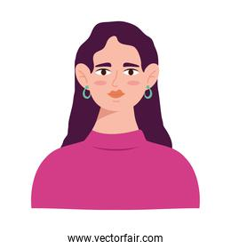 young woman with long hair avatar character