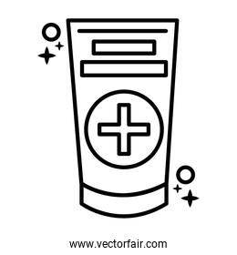 medical cream tube line style icon