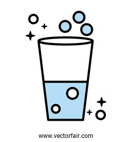 water glass cup line and colors style icon