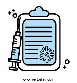 covid19 virus particle in checklist with vaccine syringe line and colors style icon