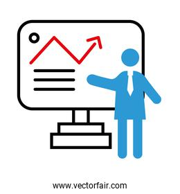 business person coaching with statistics arrow in display half line style icon