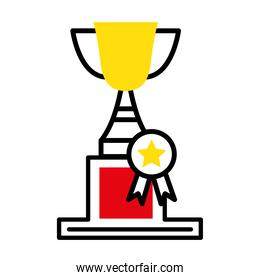 trophy cup with medal half line style icon