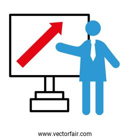 business person coaching with arrow in paperboard half line style icon