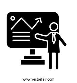 business person coaching with statistics arrow in display silhouettes style icon