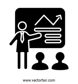 business person coaching with statistics arrow in paperboard silhouettes style icon