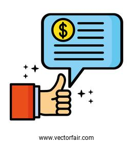 hand like and speech bubble with dollar symbol finacial icon