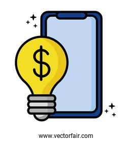 smartphone with dollar symbol in bulb light icon