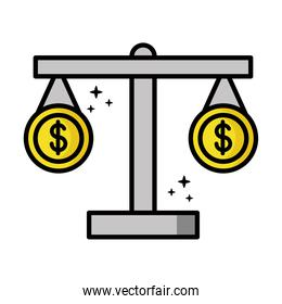 coins money dollars in scale balance financial icons