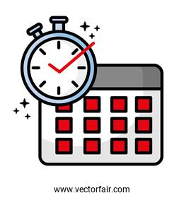 chronometer with calendar reminder icon