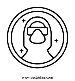 use biosafety suit sticker line style icon