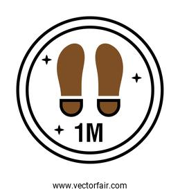 reopening sticker with footprint location half line style icon