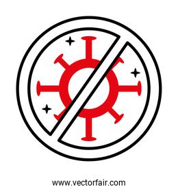 stop covid19 virus signal half line style icon