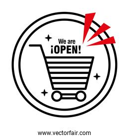 reopening lettering with shopping cart in sticker half line style icon