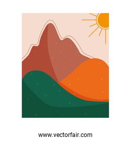abstract landscape colorful scene with summer sun and mountain