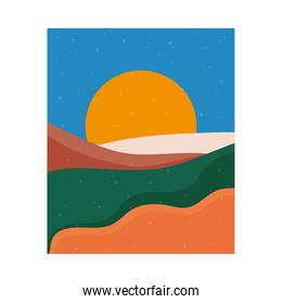abstract landscape colorful scene with sunset sun