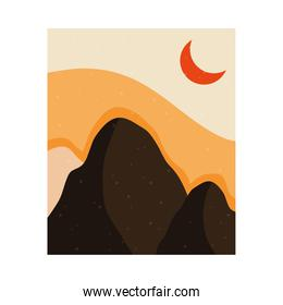 abstract landscape colorful scene with crescent moon and mountains