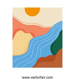 abstract landscape colorful scene with summer sun and river