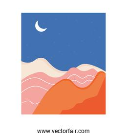 abstract landscape colorful scene with crescent moon
