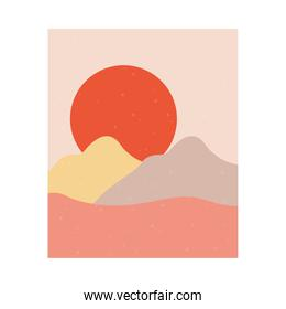 abstract landscape scene with sunset sun and mountains