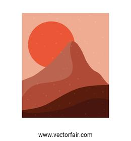 abstract landscape colorful scene with sunset sun and mountains