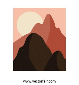 abstract landscape colorful scene with fullmoon and mountains