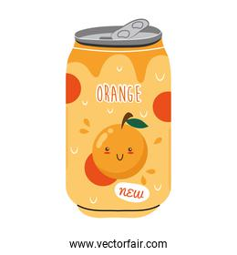 orange juice fruit can with kawaii characters