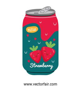 strawberry juice fruit can with kawaii characters