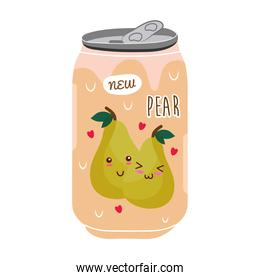 pear juice fruit can with kawaii characters
