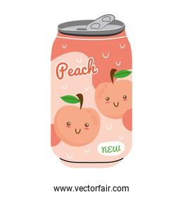 peach juice fruit can with kawaii characters