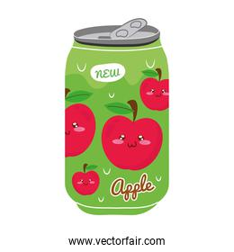 apple juice fruit can with kawaii characters