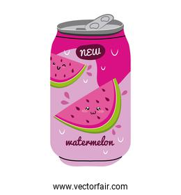 watermelon juice fruit can with kawaii characters