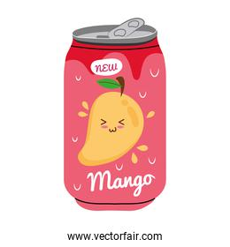 mango juice fruit can with kawaii characters