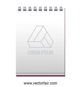 notebook with triangle emblem mockup branding
