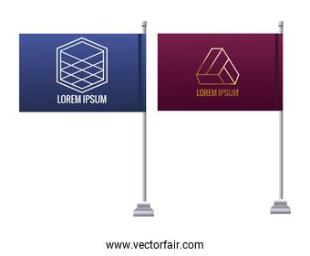 flags in poles with emblems mockup branding