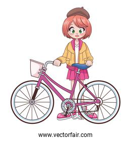 beautiful teenager girl in bicycle anime character