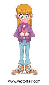 teenager girl using smartphone with Buble gum anime character