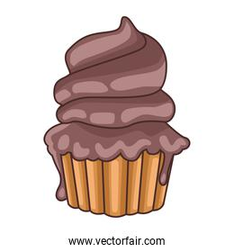 delicious sweet chocolate cupcake icon