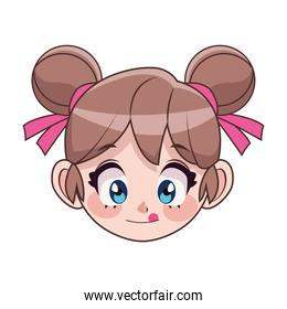 beautiful teenager girl with pigtails anime head character
