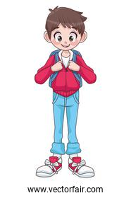 young teenager boy kid with schoolbag character