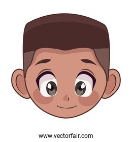 young afro teenager boy kid head character