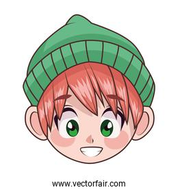 young teenager boy kid with hat head character