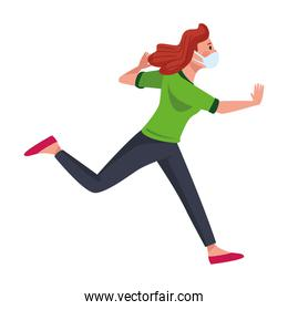 woman wearing medical mask running character