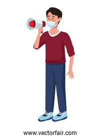 man wearing medical mask with megaphone character