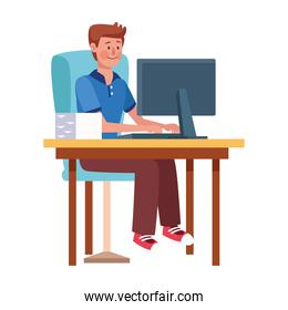 young man working in desktop in the office character