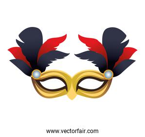 golden mask mardi gras with red and black feathers