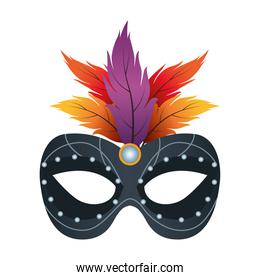 black mask mardi gras with feathers