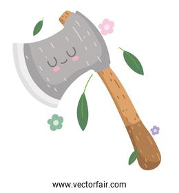 camping ax tool with leaf flowers in cartoon style
