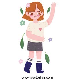 happy girl in casual clothes with flowers and leaf in cartoon style