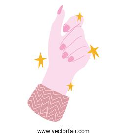 manicure, female hand showing nails of pink color in cartoon style