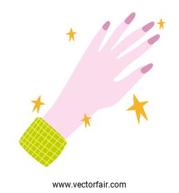 manicure, female showing hand nails of pink color in cartoon style